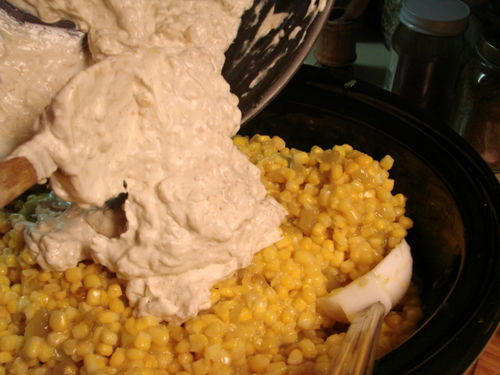 Corn Casserole add cream mixture