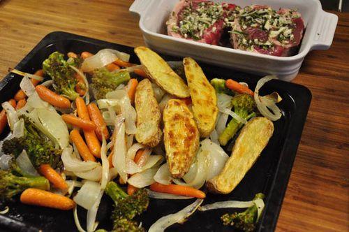 Lamb chops roasted veggies