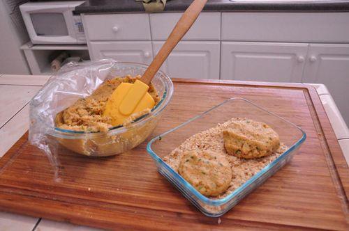 Falafel patties in bread crumbs