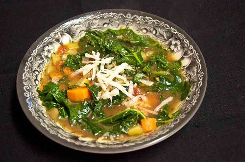 Kale soup plated