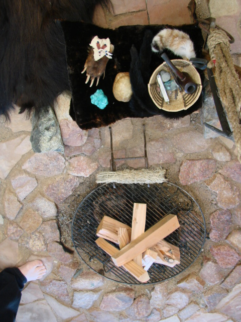 Altar behind fire